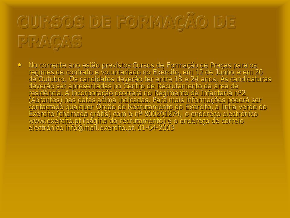 CURSOS DE FORMAÇÃO DE PRAÇAS