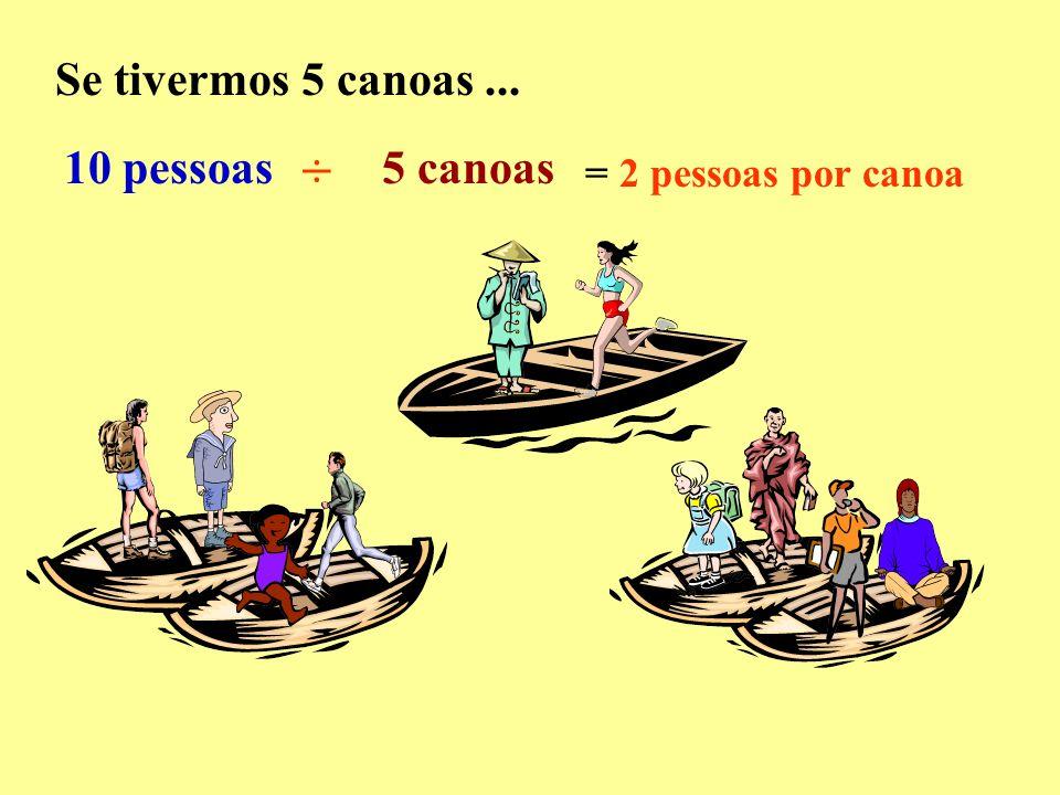 Se tivermos 5 canoas ... 10 pessoas ÷ 5 canoas = 2 pessoas por canoa