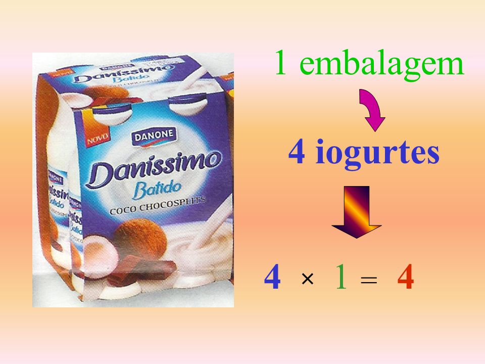 1 embalagem 4 iogurtes 4 1 4 × =