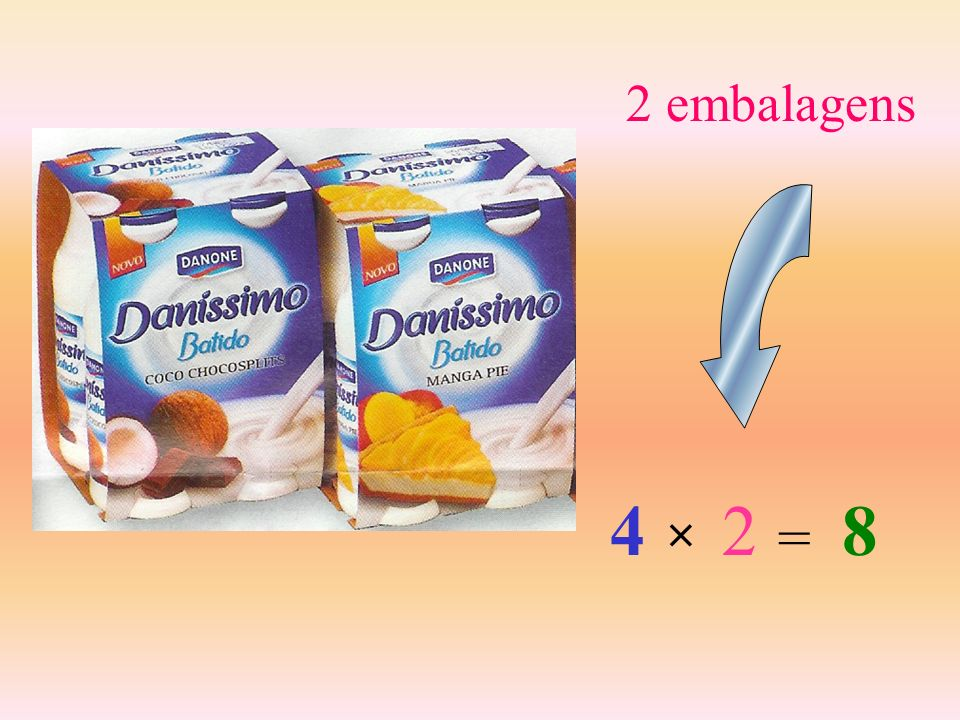 2 embalagens 4 2 8 × =