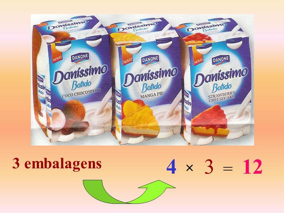 3 embalagens 4 3 12 × =