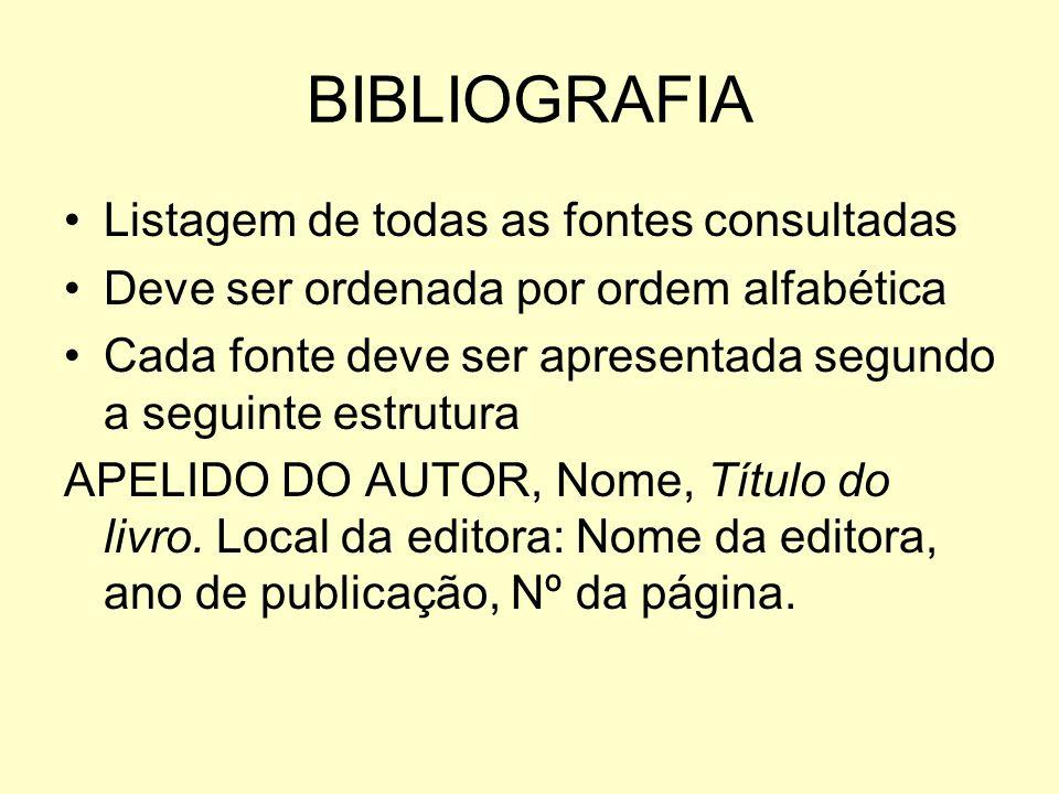 BIBLIOGRAFIA Listagem de todas as fontes consultadas