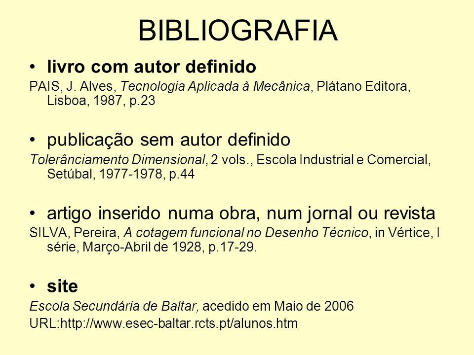 BIBLIOGRAFIA livro com autor definido publicação sem autor definido