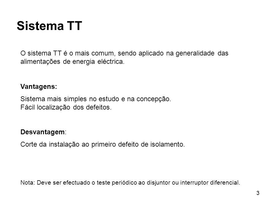 Sistema TT O sistema TT é o mais comum, sendo aplicado na generalidade das alimentações de energia eléctrica.