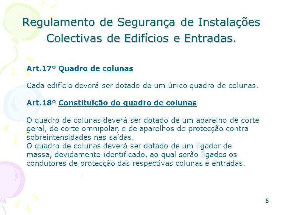 Regulamento de Segurança de Instalações Colectivas de Edifícios e Entradas.