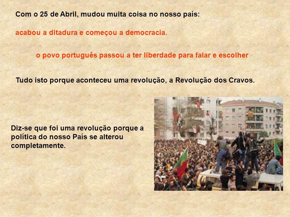 Com o 25 de Abril, mudou muita coisa no nosso país: