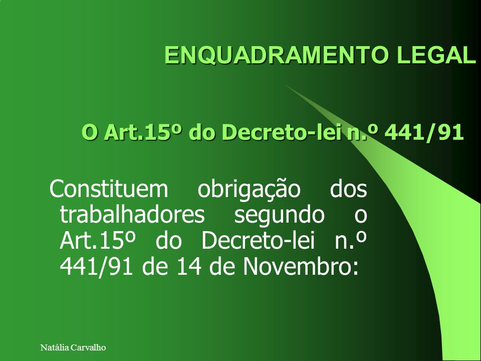 ENQUADRAMENTO LEGAL O Art.15º do Decreto-lei n.º 441/91.