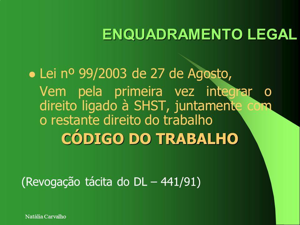 ENQUADRAMENTO LEGAL CÓDIGO DO TRABALHO Lei nº 99/2003 de 27 de Agosto,