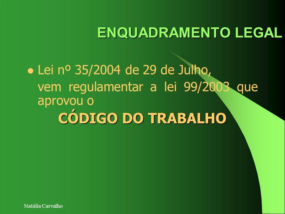 ENQUADRAMENTO LEGAL CÓDIGO DO TRABALHO Lei nº 35/2004 de 29 de Julho,