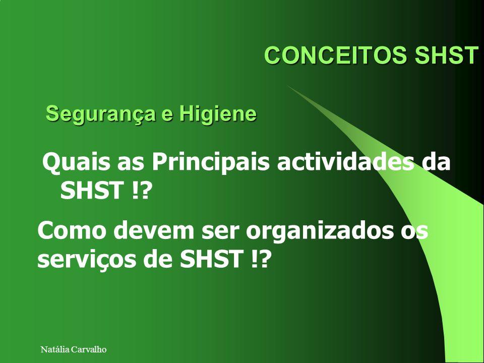 Quais as Principais actividades da SHST !