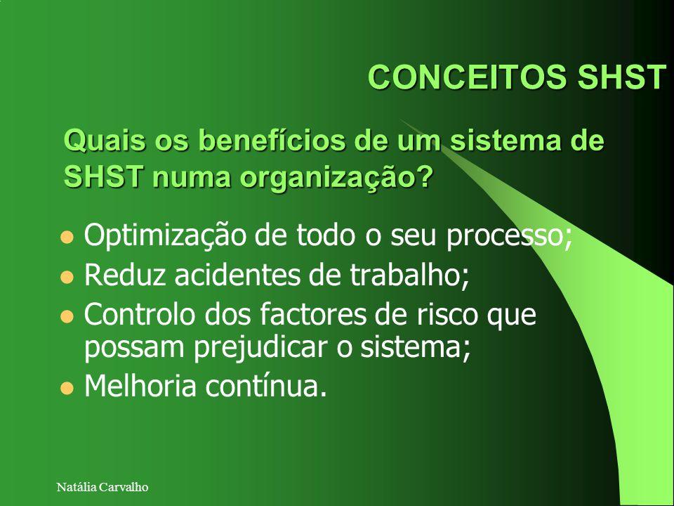 CONCEITOS SHST Quais os benefícios de um sistema de SHST numa organização Optimização de todo o seu processo;
