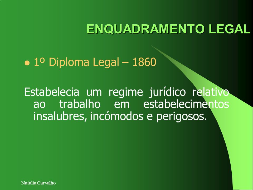 ENQUADRAMENTO LEGAL 1º Diploma Legal – 1860