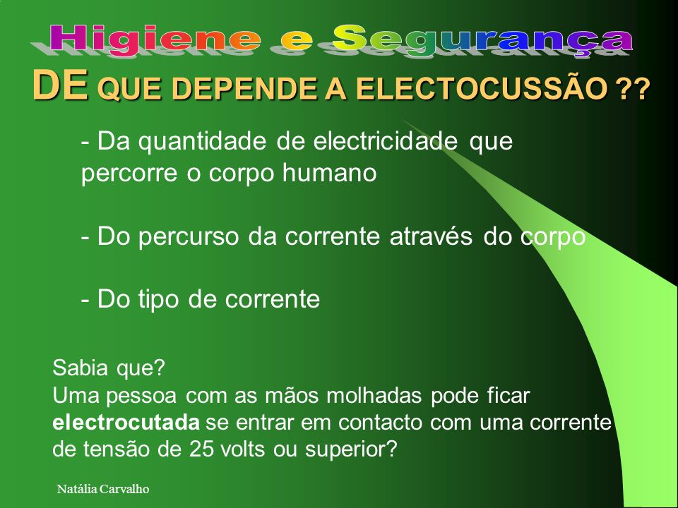 DE QUE DEPENDE A ELECTOCUSSÃO
