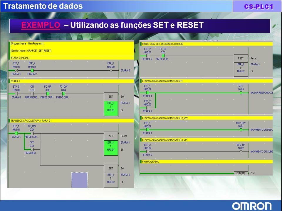 Tratamento de dados EXEMPLO – Utilizando as funções SET e RESET