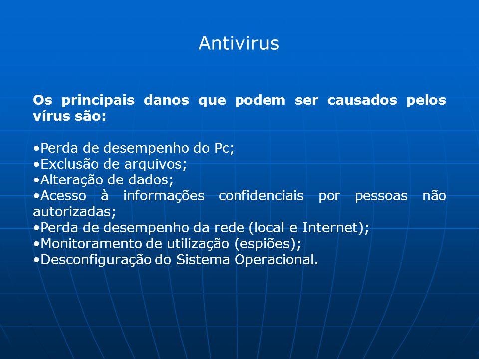 Antivirus Os principais danos que podem ser causados pelos vírus são: