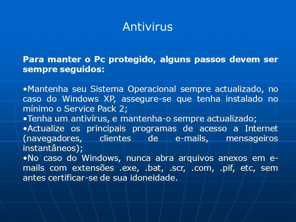 Antivirus Para manter o Pc protegido, alguns passos devem ser sempre seguidos: