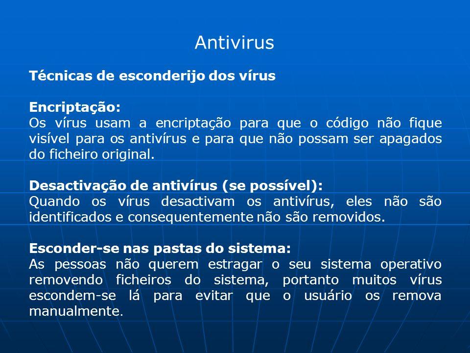 Antivirus Técnicas de esconderijo dos vírus Encriptação: