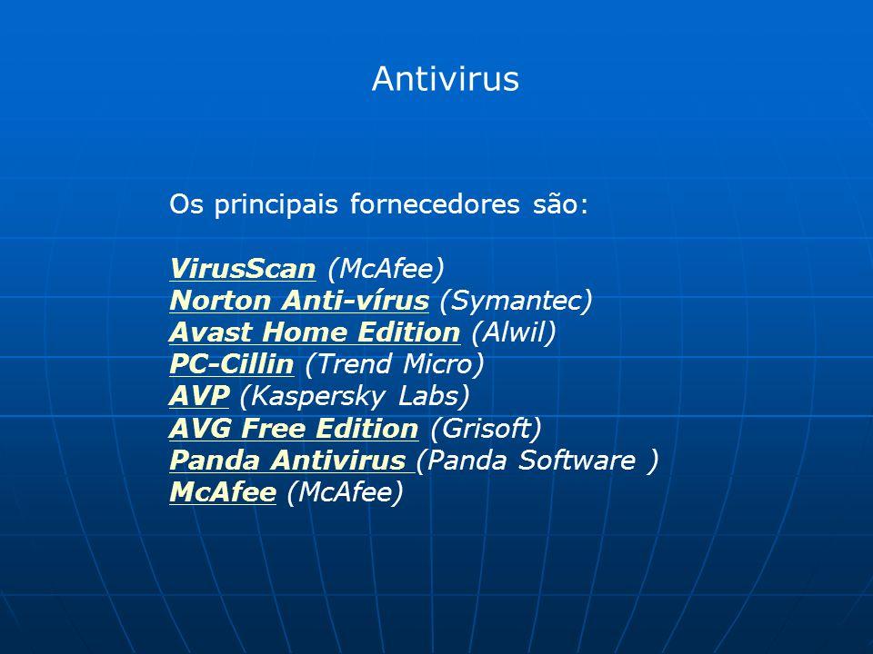 Antivirus Os principais fornecedores são: