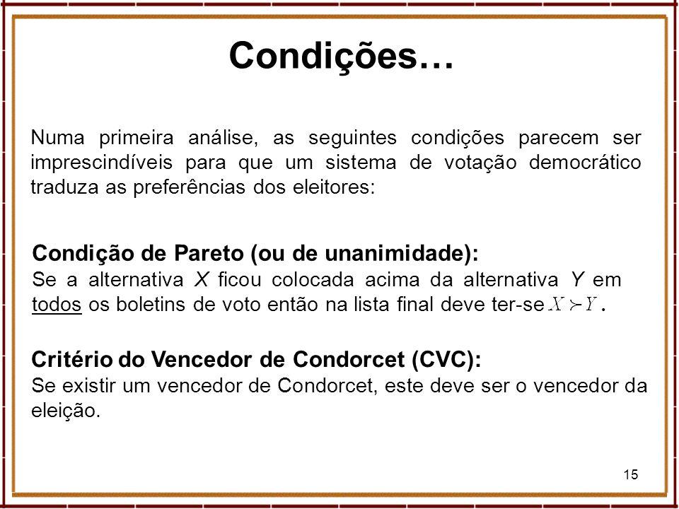 Condições… Condição de Pareto (ou de unanimidade):