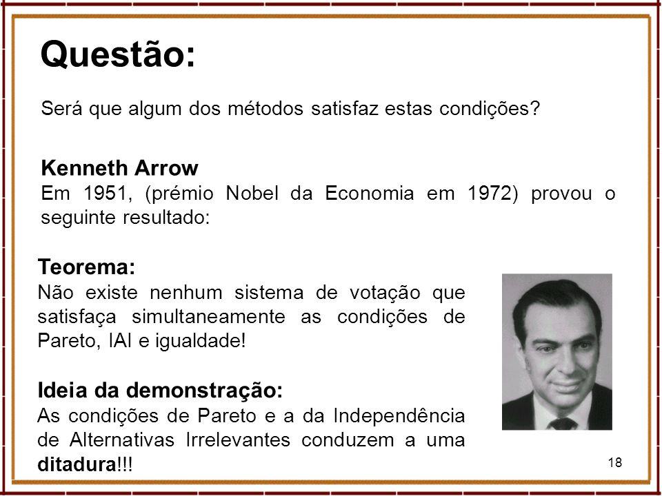 Questão: Kenneth Arrow Teorema: Ideia da demonstração: