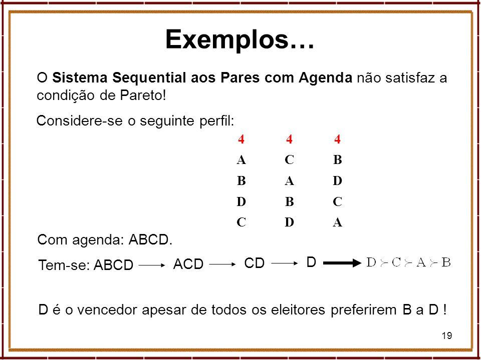 Exemplos…O Sistema Sequential aos Pares com Agenda não satisfaz a condição de Pareto! Considere-se o seguinte perfil: