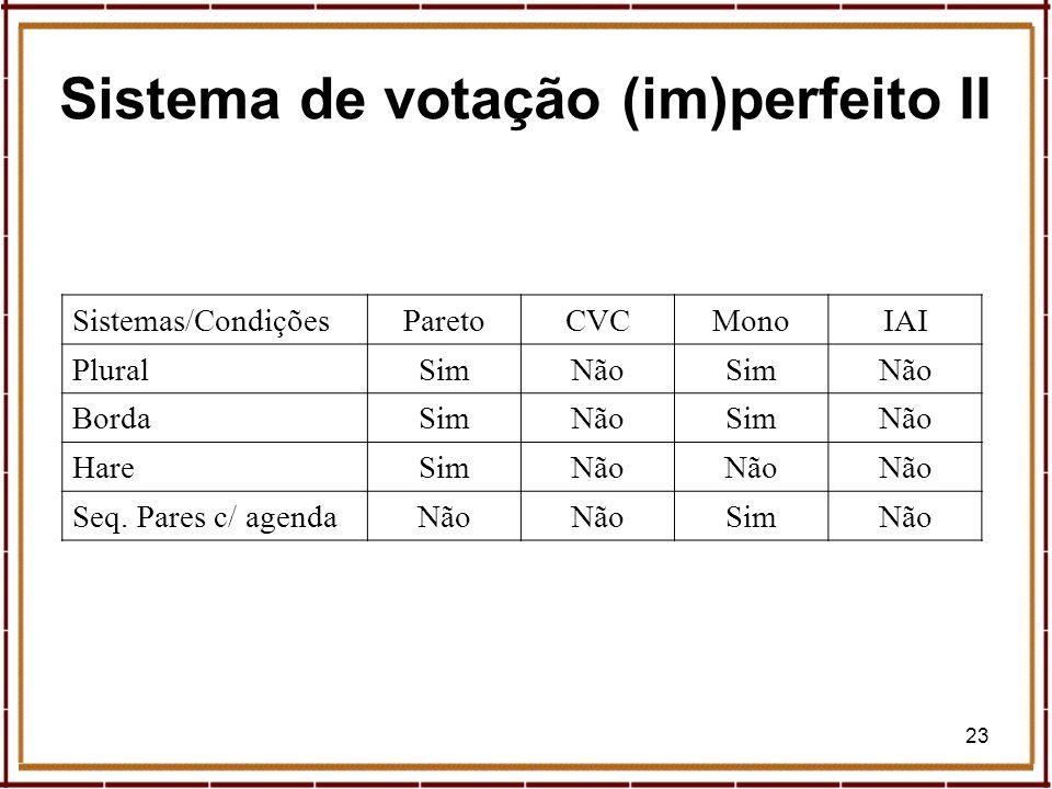 Sistema de votação (im)perfeito II