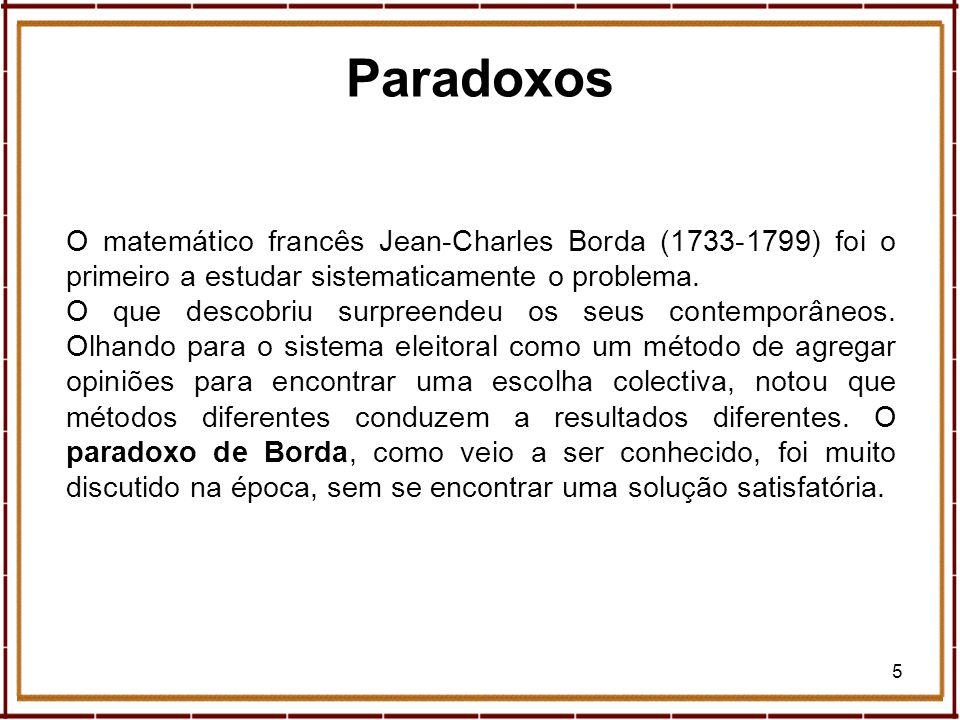 ParadoxosO matemático francês Jean-Charles Borda (1733-1799) foi o primeiro a estudar sistematicamente o problema.