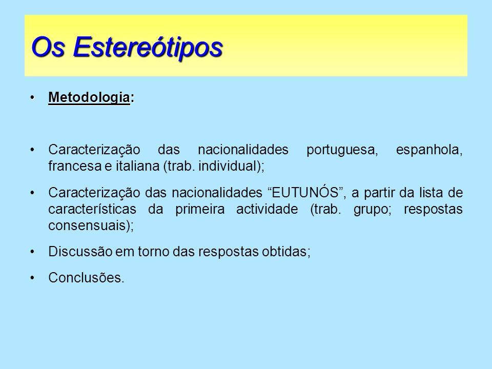 Os Estereótipos Metodologia: