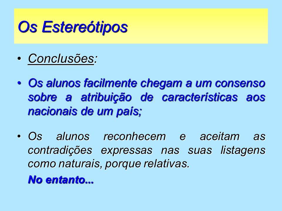 Os Estereótipos Conclusões: