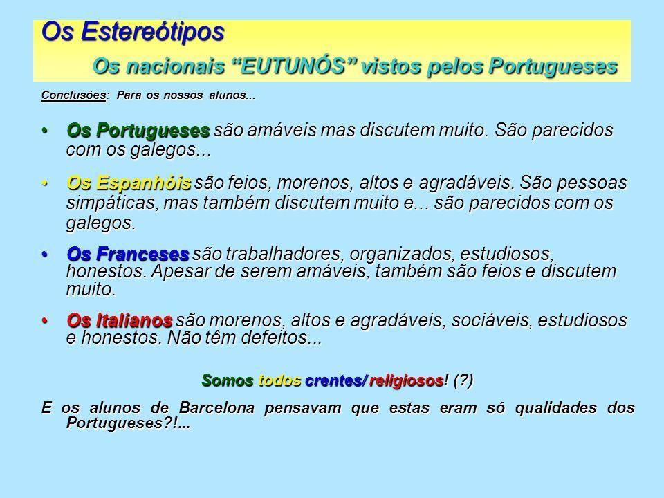 Os Estereótipos Os nacionais EUTUNÓS vistos pelos Portugueses