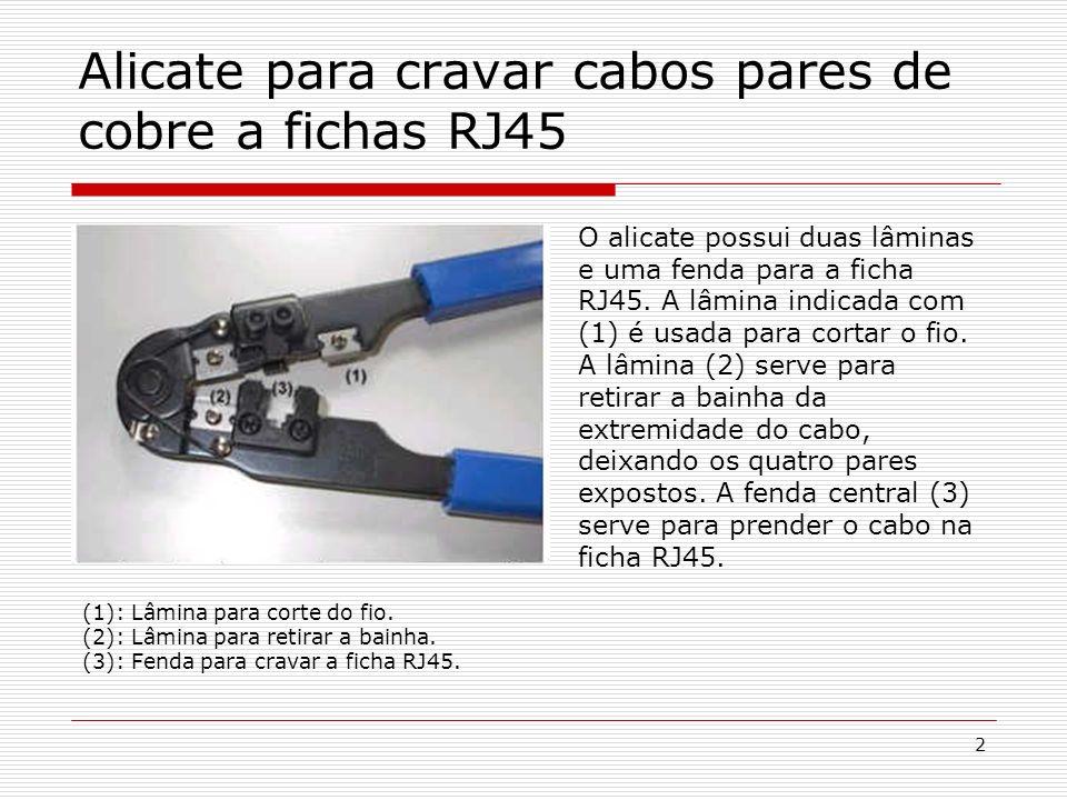 Alicate para cravar cabos pares de cobre a fichas RJ45