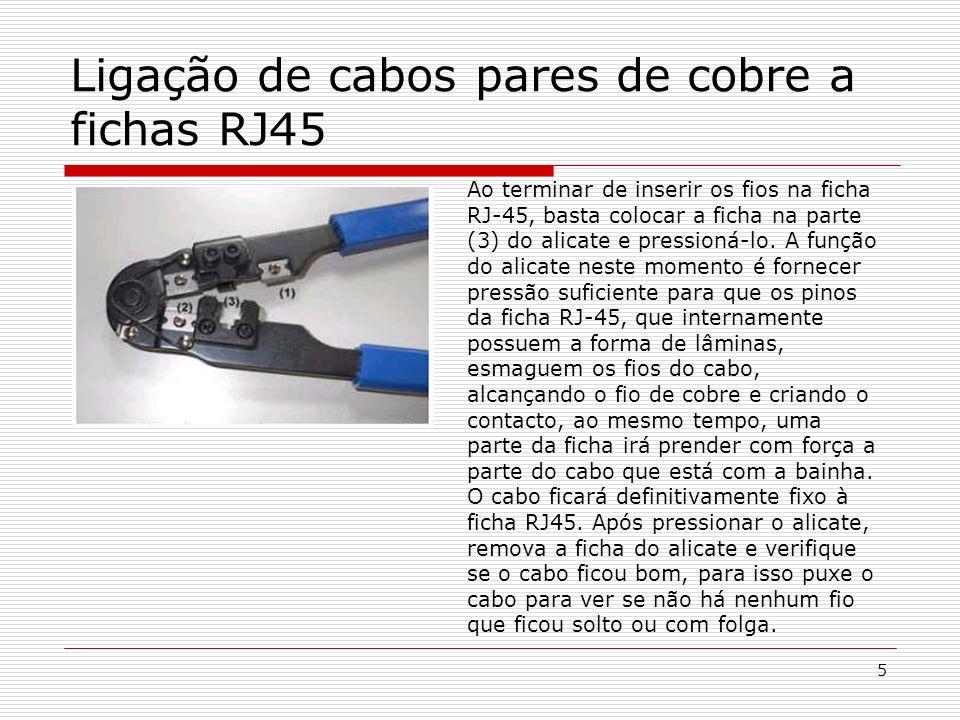 Ligação de cabos pares de cobre a fichas RJ45