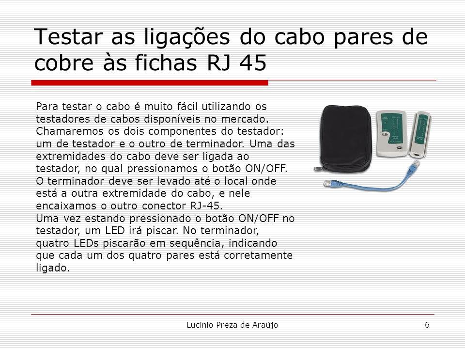 Testar as ligações do cabo pares de cobre às fichas RJ 45