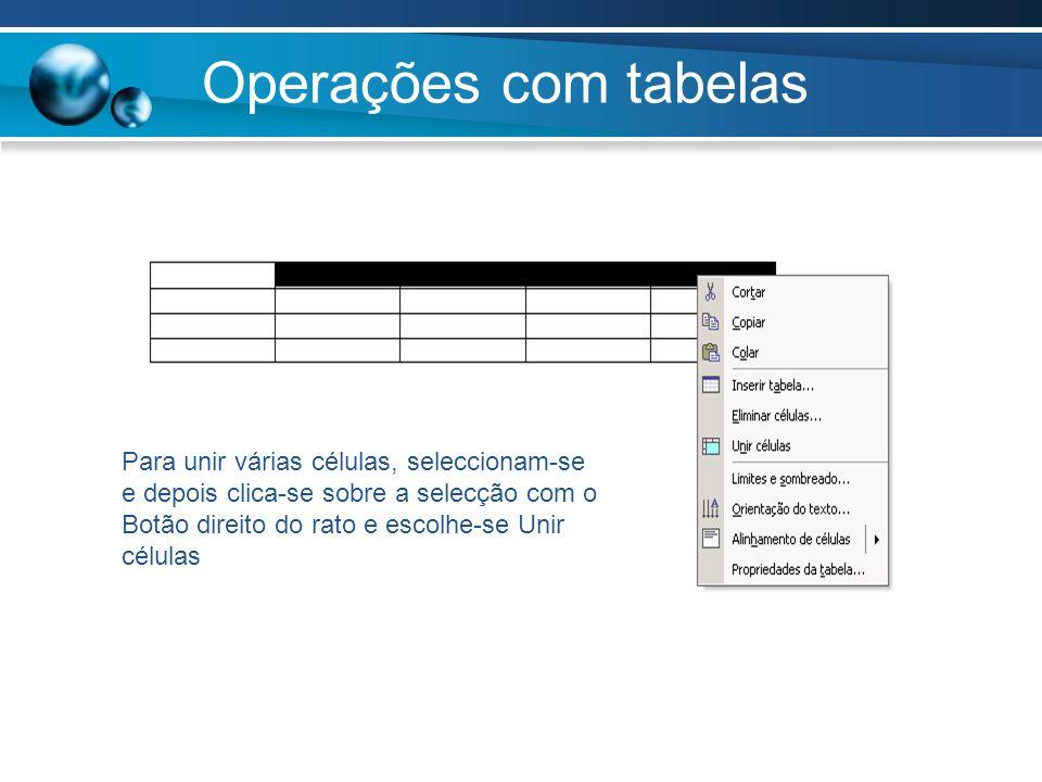 Operações com tabelas