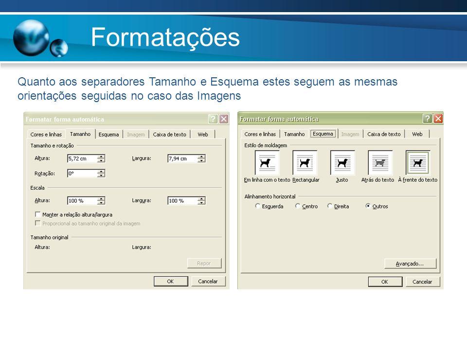Formatações Quanto aos separadores Tamanho e Esquema estes seguem as mesmas orientações seguidas no caso das Imagens.