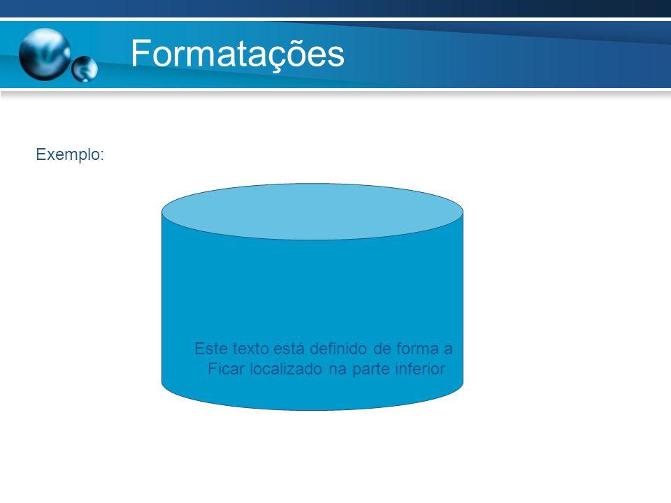 Formatações Exemplo: Este texto está definido de forma a