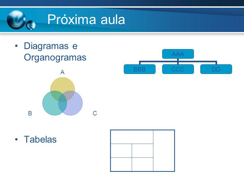 Próxima aula Diagramas e Organogramas Tabelas