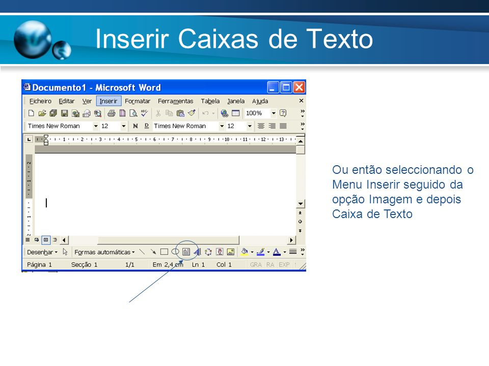 Inserir Caixas de Texto