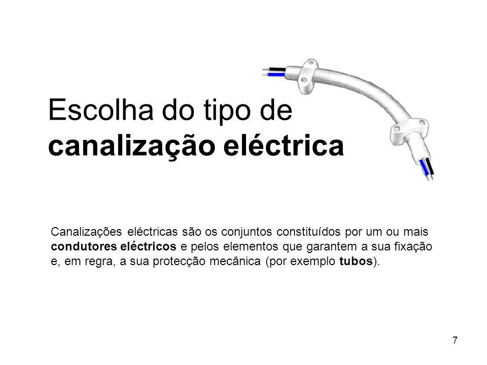 Escolha do tipo de canalização eléctrica