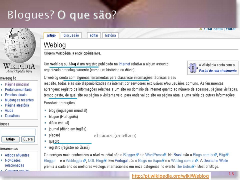 Blogues O que são http://pt.wikipedia.org/wiki/Weblog