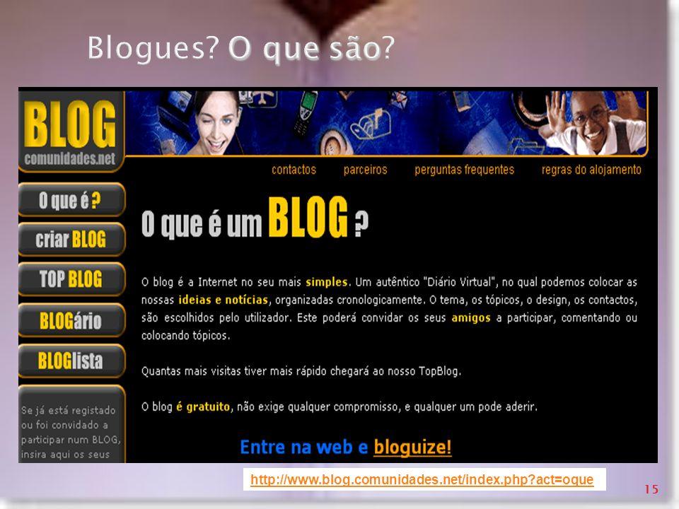 Blogues O que são http://www.blog.comunidades.net/index.php act=oque