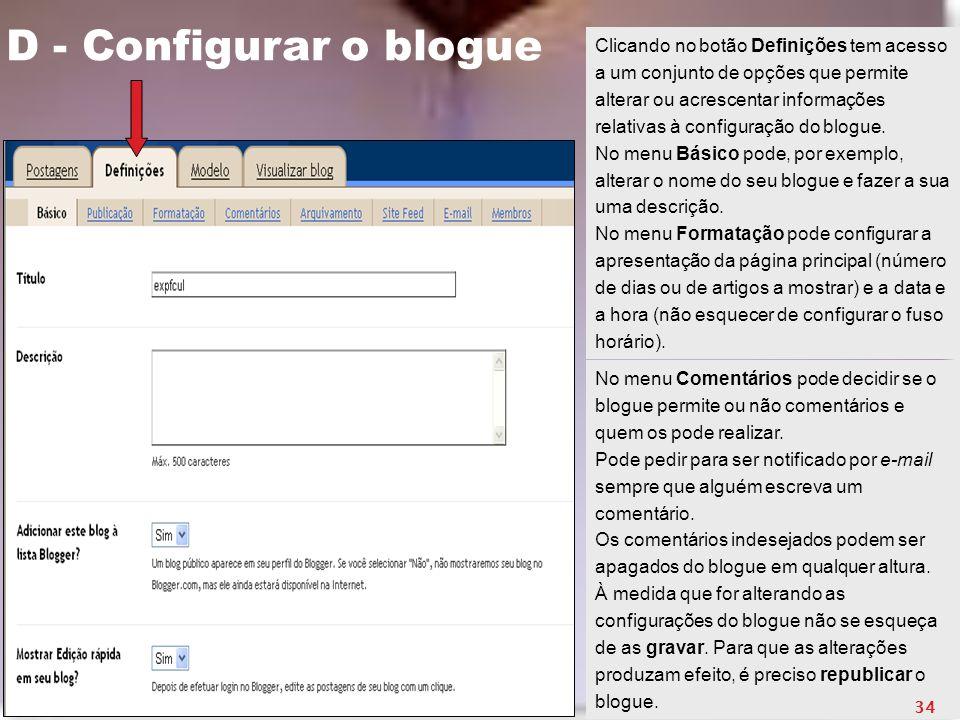 D - Configurar o blogue