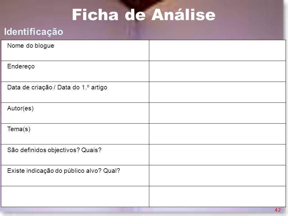 Ficha de Análise Identificação Nome do blogue Endereço
