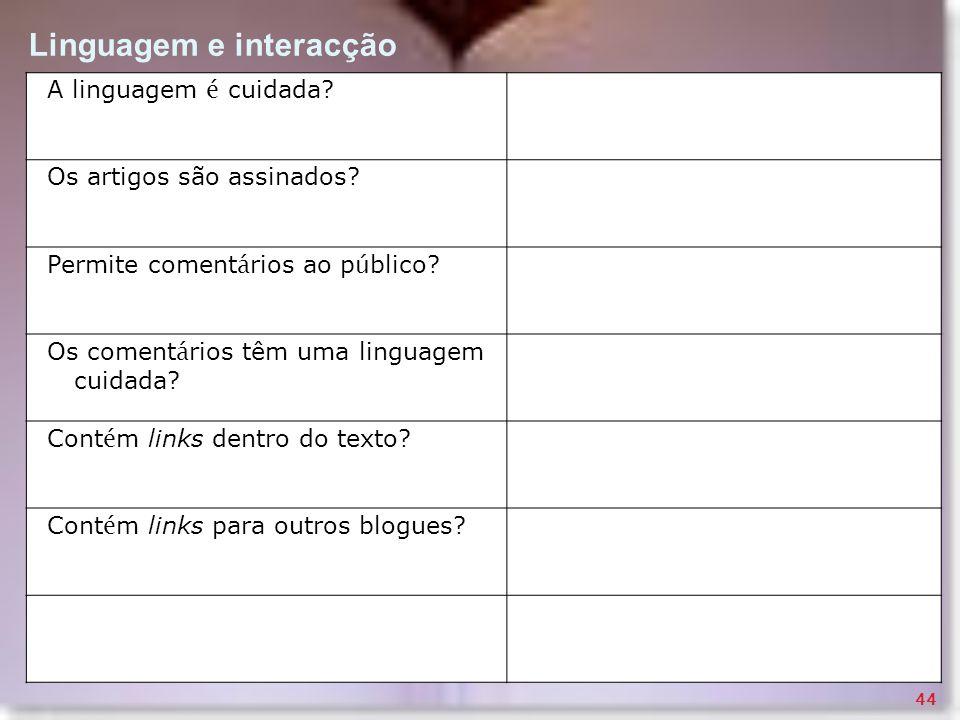 Linguagem e interacção