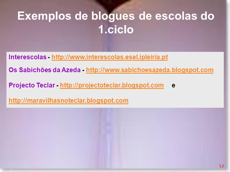 Exemplos de blogues de escolas do 1.ciclo