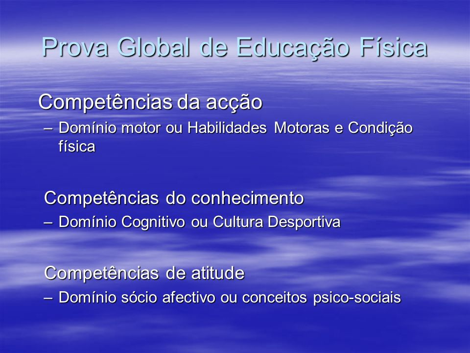 Prova Global de Educação Física