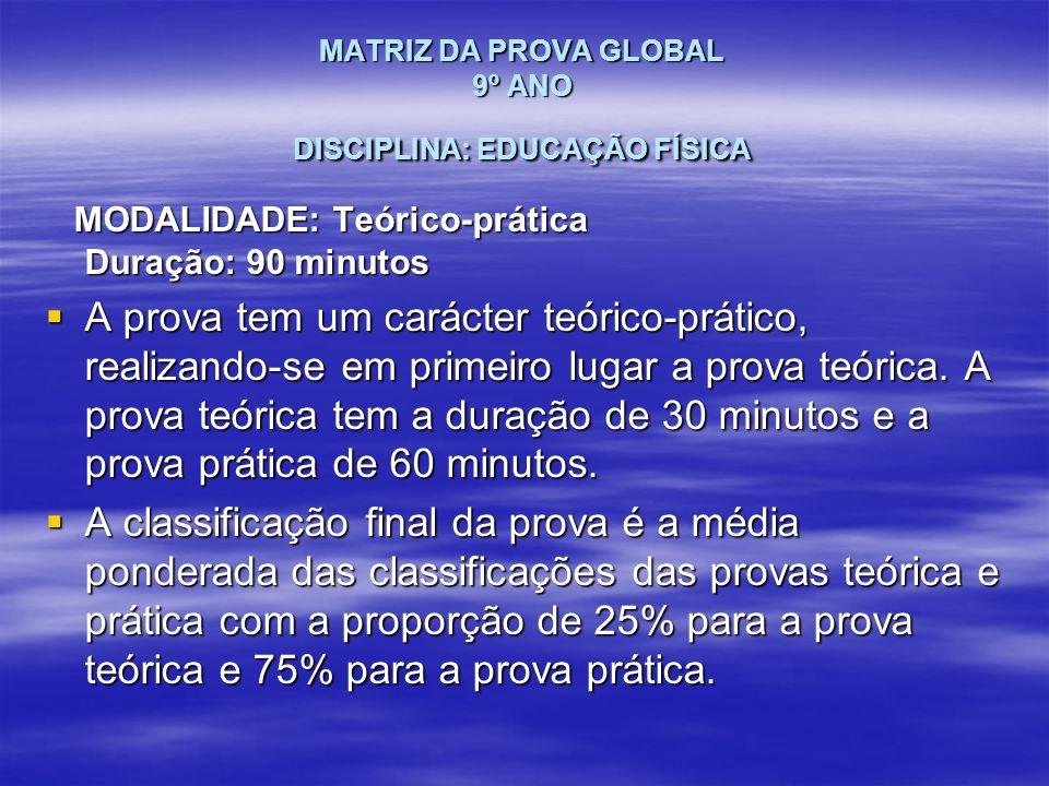 MATRIZ DA PROVA GLOBAL 9º ANO DISCIPLINA: EDUCAÇÃO FÍSICA