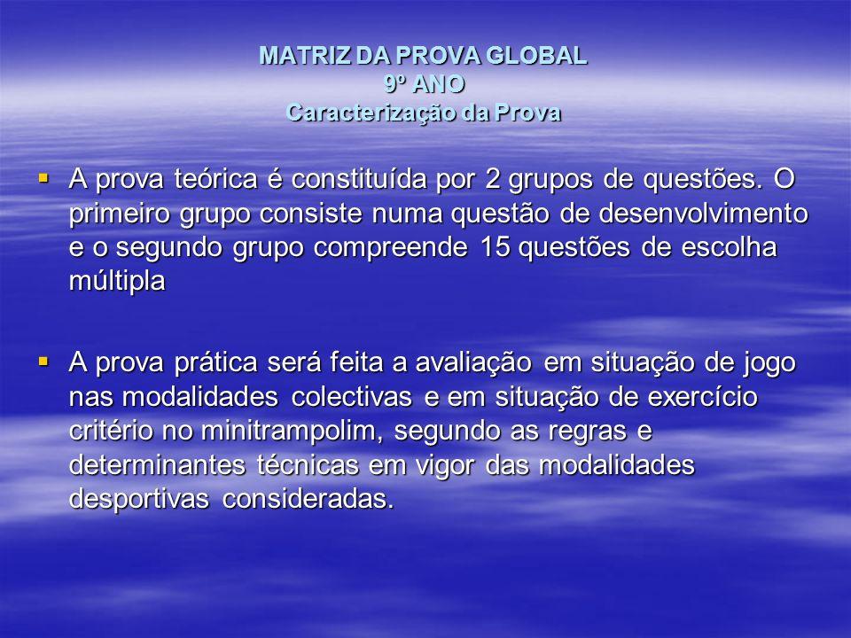 MATRIZ DA PROVA GLOBAL 9º ANO Caracterização da Prova