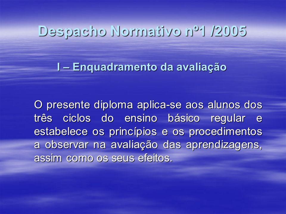 Despacho Normativo nº1 /2005 I – Enquadramento da avaliação