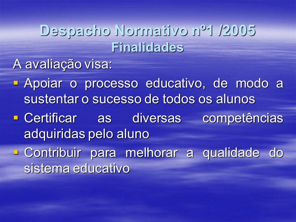 Despacho Normativo nº1 /2005 Finalidades